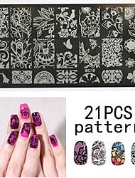 Недорогие -1ps ногтей печать шаблон ногтя шнурка pattren 12x6cm