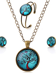 Lureme® Time Gem Series Simple Vintage Style Blue Sky with Life Tree Pendant Necklace Stud Earrings Bangle Jewelry Sets