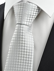 cheap -New Checked Ash Gray Men's Tie Necktie Formal Wedding Party Holiday Gift KT0022