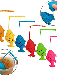 cheap -Silicone Fish Shape Loose Tea Leaf Infuser Spice Herbal Strainer Filter Diffuser(Random Color)