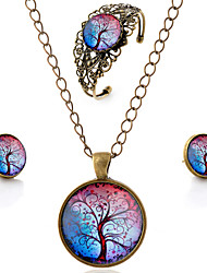 Lureme® Time Gem Series Vintage Colorful Tree of Life Pendant Necklace Stud Earrings Hollow Flower Bangle Jewelry Sets