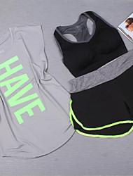 Per donna Tuta da ginnastica Manica corta Traspirante Reggiseni sportivi T-shirt Pantaloncini /Cosciali Set di vestiti Top per Yoga