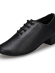 cheap -Women's Latin Shoes / Modern Shoes Leather Oxford Lace-up Cuban Heel Customizable Dance Shoes Black