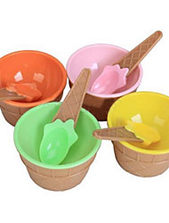 Cute Children Ice Cream Bowl with Spoon Eco-Friendly Dessert Container Set Plastic  Cup Tableware
