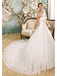 A-Line Illusion Neckline Chapel Train Tulle Wedding Dress with Appliques Button by LAN TING BRIDE®