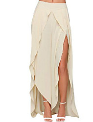 Women's Daily Maxi Skirts,Street chic A Line Polyester Solid Summer