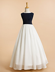 cheap -A-Line Floor Length Flower Girl Dress - Chiffon Sleeveless Scoop Neck with Draping by LAN TING BRIDE®