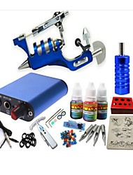 cheap -Starter Tattoo Kit 1 steel machine liner & shader Tattoo Machine pcs Tattoo Needles Mini power supply 1 × 20ml Tattoo Ink 1 x aluminum