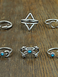 cheap -Women's Alloy Ring Turquoise Alloy 6 Pieces Classical Feminine Style