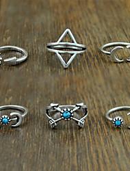 женский сплав кольцо бирюзовый сплав 6 штук классический женский стиль