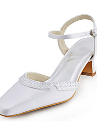 Women's Spring Summer Stretch Satin Wedding Dress Party & Evening Chunky Heel Crystal Buckle Ivory White Silver