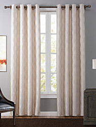 Grommet Top One Panel Curtain Modern , Jacquard Geometic Bedroom Polyester Material Blackout Curtains Drapes Home Decoration