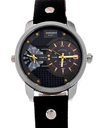 Herren Armbanduhr Mechanische Uhr Quartz Leder Band Schwarz Schwarz