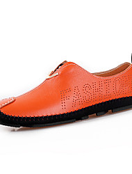 cheap -Men's Shoes Cowhide Leather Spring Summer Driving Shoes Comfort Loafers & Slip-Ons Hollow-out for Casual Black Orange Blue
