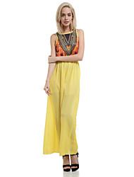 cheap -Women's Dress Flower Print Maxi Crew Neck