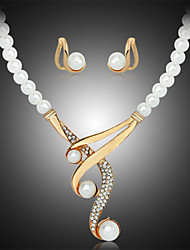 cheap -Women's Pearl / Imitation Pearl / Rhinestone Jewelry Set Earrings / Necklace - Luxury White Jewelry Set / Necklace / Earrings For Wedding