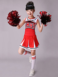 cheap -Cheerleader Costumes Outfits Children's Performance Cotton Spandex Pattern / Print Sleeveless High Top Skirt
