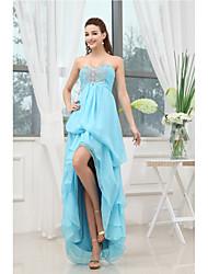 preiswerte -Mantel / Spalte Schatz asymmetrische Chiffon-Cocktail-Party-Kleid mit Perlen Seite drapieren