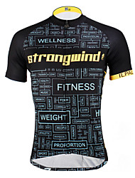 cheap -ILPALADINO Men's Short Sleeve Cycling Jersey - Black / Yellow / Black with White Bike Jersey, Quick Dry, Ultraviolet Resistant, Breathable