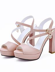 Damen Schuhe Kunstleder Sommer Fersenriemen Blockabsatz Strass Für Kleid Party & Festivität Weiß Schwarz Beige Rosa