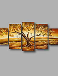 "cheap -Stretched (ready to hang) Hand-Painted Oil Painting 60""x32"" Canvas Wall Art Modern Abstract Forest Trees"