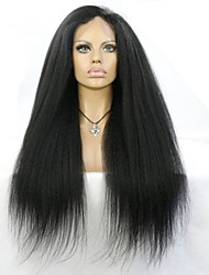 cheap -Italian Yaki African American Full Lace Human Hair Wigs Best Glueless Brazilian Virgin Kinky Straight Lace Front Wigs