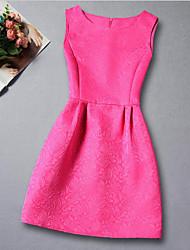 economico -Vestito Ragazza Quotidiano Rayon Jacquard Estate Senza maniche Abbigliamento Nero Fucsia Rosso Blu Rosa