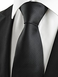 cheap -Classic Striped Black Men Tie Formal Necktie Wedding Funeral Evening Gift #0025