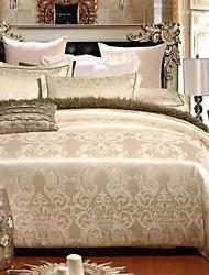 cheap -Luxury Jacquard Silk Cotton King Queen Size 4pcs Bedding Set Pillowcase Duvet CoverHome Textiles Quilt Cover Flat Sheet