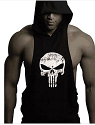cheap -Men's Skull Printing Bodybuilding Fitness Sleeveless Hooded Tank Tops Casual / Sport Vest