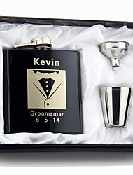 Gift Groomsman Personalized 4 Pieces Quality  Stainless Steel 6-oz Flask  in Gift Box