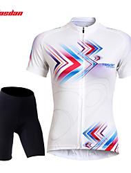 baratos -TASDAN Mulheres Manga Curta Camisa com Shorts para Ciclismo - Preto Moto Shorts Shorts Acolchoados Camisa/Roupas Para Esporte Conjuntos