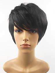 preiswerte -Synthetische Perücken Glatt Pixie-Schnitt Mit Pony Schwarz Damen Kappenlos Natürliche Perücke Kurz Synthetische Haare