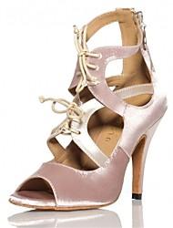 Women's Ballroom Dance Shoes Latin / Jazz / Swing Shoes / Salsa / Samba Satin Heel Black / Pink Customizable