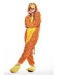cheap -Kigurumi Pajamas Tiger Onesie Pajamas Costume Polar Fleece Yellow Cosplay For Adults' Animal Sleepwear Cartoon Halloween Festival /