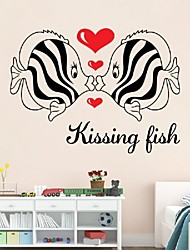 cheap -Waterproof Wardrobe Ceramic Tile Decorative Painting Couple Living Room Sofa Bedroom Bed Wall Stickers Kiss Fish