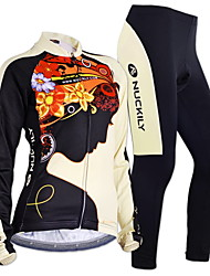 cheap -Nuckily Men's Women's Long Sleeves Cycling Jersey with Tights - Black Floral / Botanical Geometic Bike Clothing Suits, Thermal / Warm,