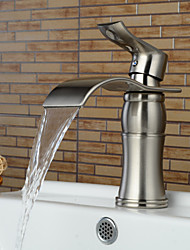 Contemporary Centerset Waterfall Ceramic Valve One Hole Single Handle One Hole Nickel Brushed , Bathroom Sink Faucet