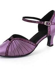 Women's Latin Modern Leatherette Heel Practice Beginner Professional Indoor Performance Buckle Customized Heel Black Gray Purple Red Blue
