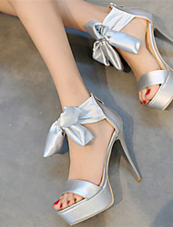 Women's Girls' Silk Spring Summer Fall Wedding Party & Evening Dress Bowknot Lace-up Hollow-out Zipper Stiletto Heel PlatformSilver Green