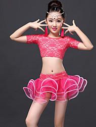 povoljno -Latino ples Outfits Seksi blagdanski kostimi Čipka Drapirano S resicama Top Suknja