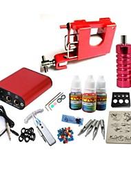 cheap -Starter Tattoo Kit 1 steel machine liner & shader Tattoo Machine Mini power supply 1 × 20ml Tattoo Ink 1 x aluminum grip