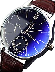 Men's YAZOLE Watch Quartz Waterproof Sports Watch Blue Gems Dial Leather Dress Watch(Assorted Color) Wrist Watch Cool Watch Unique Watch