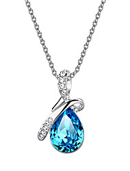 cheap -HKTC Valentine's Glittering Blue Austrian Crystal Angel's Teardrop CZ Diamond Pendant Necklace Platinum Plated Jewelry