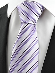 cheap -Black Striped Violet JACQUARD Men's Tie Necktie Wedding Party Holiday Gift #0008