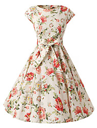 Women's Cap Sleeves Cream Flowers Floral Dress , Vintage Cap Sleeves 50s Rockabilly Swing Dress