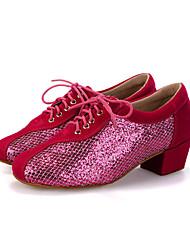 "cheap -Women's Modern Flocking Sparkling Glitter Sneaker Heel Performance Sequin Sparkling Glitter Lace-up Chunky Heel Peach Black Red 2"" - 2"