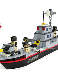 Недорогие -пластиковые деревянные военный корабль мальчиков хобби Minifigures модели строительные блоки для детей, борьбы с терроризмом обучающие