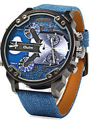 Недорогие -Муж. Наручные часы Кварцевый Японский кварц С двумя часовыми поясами Кожа Группа Аналоговый Кулоны Синий - Синий / Нержавеющая сталь