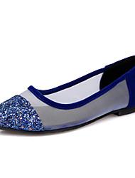 Sort / Blå-Flad hæl-Kvinders Sko-Spids tå-Glitter-Hverdag / Fest/aften / Formelt-Flade sko